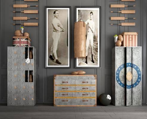 装饰柜, 边柜, 装饰画, 人物画, 墙饰, 摆件, 装饰品, 陈设品, 挂画, 工业风