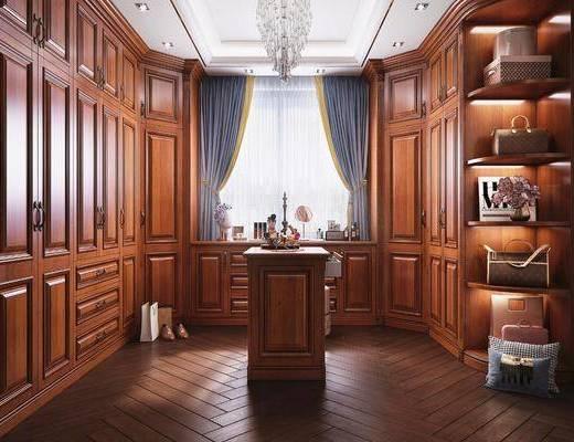 衣帽间, 衣柜, 鞋包组合, 化妆品组合, 美式