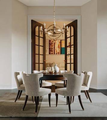 美式, 餐厅, 桌椅组合
