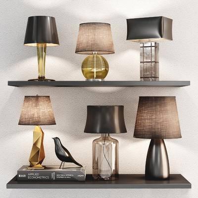 现代玻璃金属台灯组合