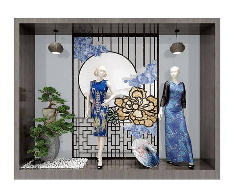 橱窗展示, 服装, 模特, 绿植植物, 吊灯, 树木, 新中式