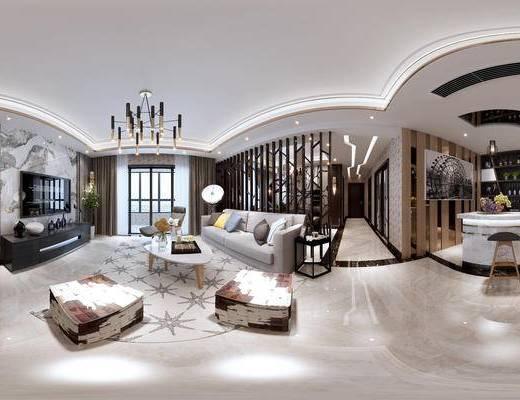 客厅, 餐厅, 现代客餐厅, 现代轻奢, 全景图, 沙发组合, 茶几, 摆件, 吧台, 吧椅, 隔断, 吊灯, 现代