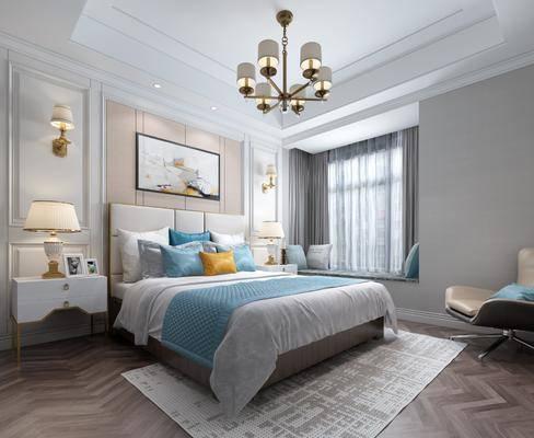 卧室, 床, 休闲椅, 床头柜, 台灯, 壁灯, 吊灯, 装饰画, 地毯, 飘窗, 抱枕, 现代, 简欧