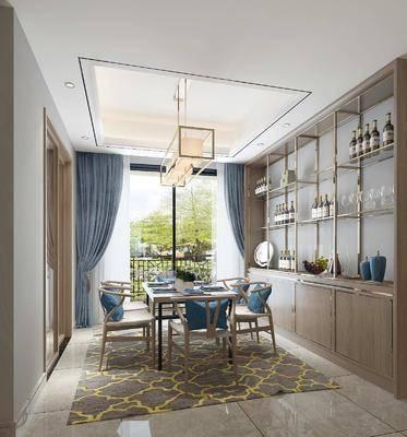 餐厅, 餐桌椅组合, 酒柜组合, 新中式餐厅