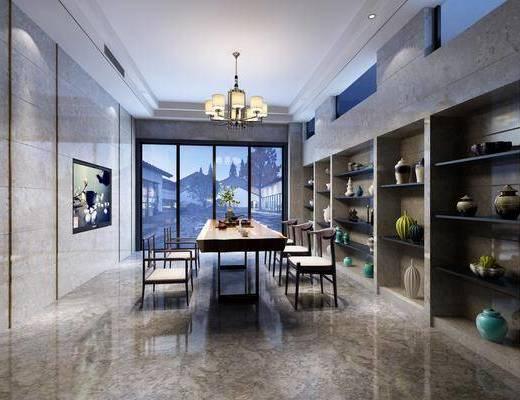 茶室, 茶桌, 单人椅, 茶具, 吊灯, 装饰柜, 摆件, 装饰品, 陈设品, 新中式