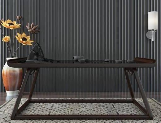 中式, 茶桌, 盘栽, 壁灯