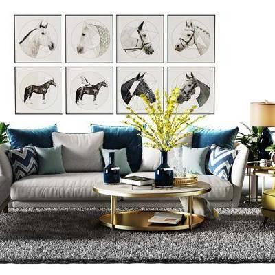 多人沙发, 布艺沙发, 沙发榻, 单人沙发, 茶几, 摆件, 装饰画, 台灯, 现代
