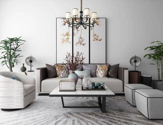 沙发组合, 新中式, 新中式沙发组合, 单椅, 单人沙发, 吊灯, 挂画, 装饰画, 植物, 盆栽, 台灯