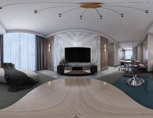 电视背景墙, 沙发组合, 电视柜, 吊灯, 桌椅组合