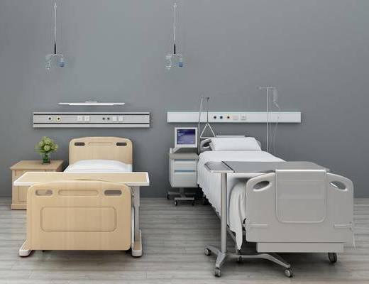 單人床, 邊柜, 裝飾柜, 醫用器材, 現代