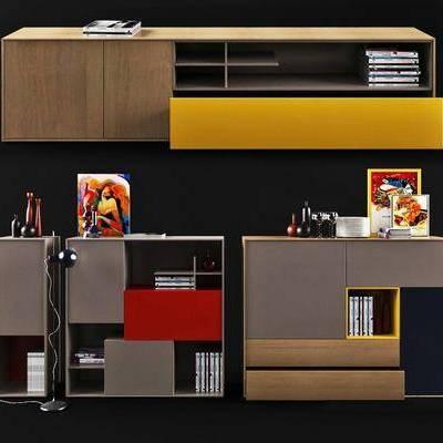 书柜, 现代书柜, 装饰柜, 书籍, 落地灯, 摆件, 摆件组合, 现代