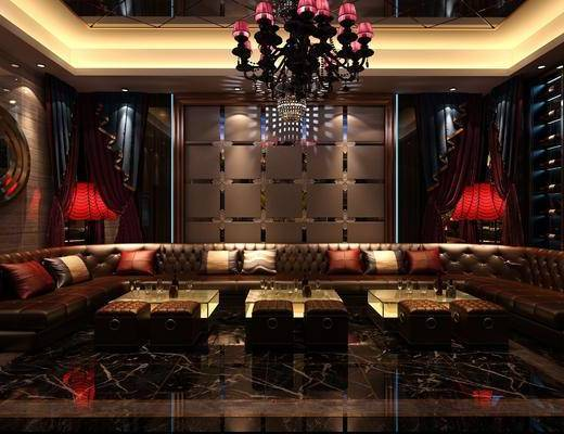 KTV包间, 会所, 多人沙发, 转角沙发, 茶几, 吊灯, 墙饰, 凳子, 装饰柜, 边柜, 简欧