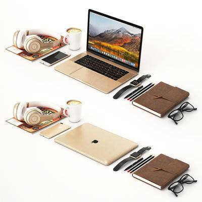 苹果笔记本, 苹果手机, 魔音耳机, 办公用品, 手机, 文具, 现代, 笔记本, 电脑
