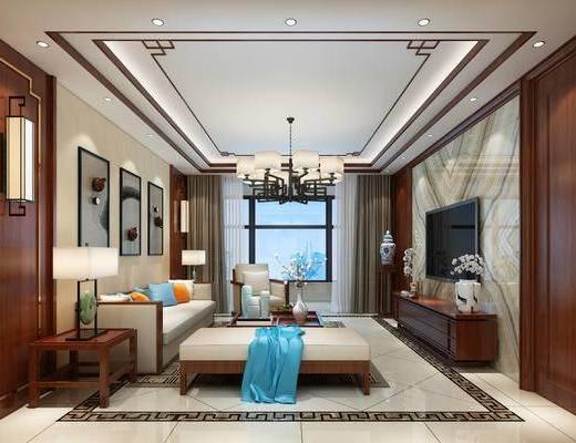 新中式, 中式, 客厅, 餐厅, 装饰品, 家具