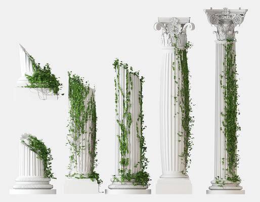 罗马柱绿植