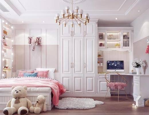 女儿房, 儿童房, 卧室, 床具组合, 玩偶组合, 桌椅组合, 吊灯, 简欧