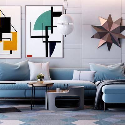 沙發組合, 沙發茶幾組合, 休閑椅, 單椅, 墻飾, 裝飾畫, 掛畫, 多人沙發, 轉角沙發, 茶幾, 現代