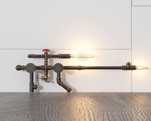 装饰灯, 工业风, 水管, 灯, 灯具