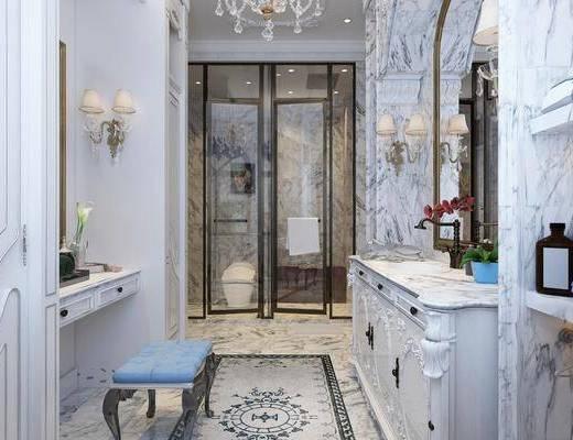 衛生間, 走廊, 洗手臺組合, 馬桶, 擺件組合, 吊燈壁燈組合, 簡歐