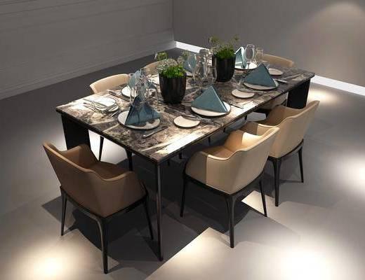桌椅组合, 餐桌, 餐椅, 单人椅, 餐具, 欧式