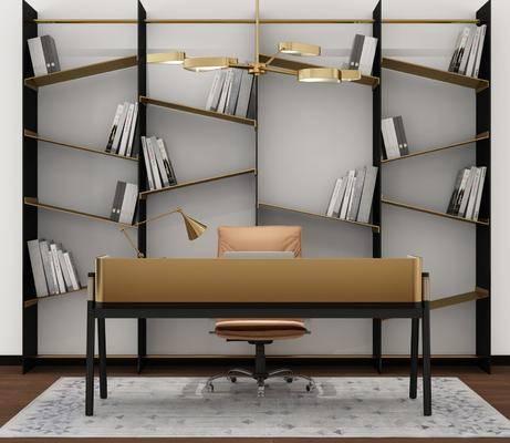 桌椅组合, 书桌, 单椅, 椅子, 书籍, 书柜, 摆件, 装饰品, 现代书桌, 现代桌椅组合, 现代