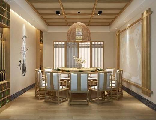 包厢, 餐厅包间, 日式包间, 桌椅组合, 餐具