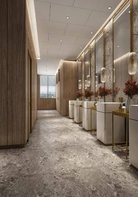 卫生间, 洗手台, 花瓶花卉, 吊灯, 装饰镜, 现代