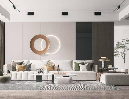 现代客厅, 沙发, 茶几, 墙饰