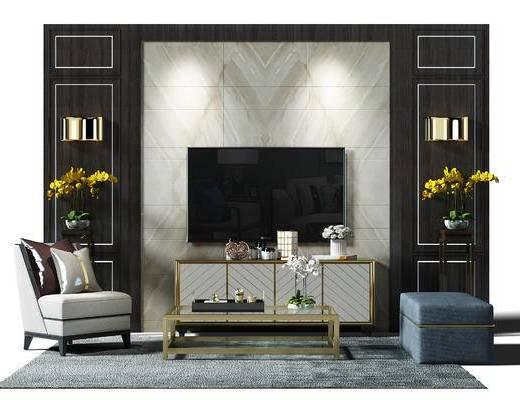 电视墙, 电视背景墙, 背景墙, 盆景, 植物, 沙发凳, 沙发椅, 椅子, 地毯, 茶几, 电视柜, 现代, 新中式
