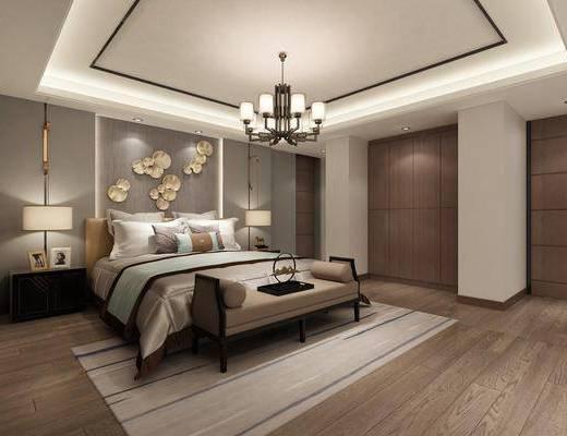 休息室, 双人床, 床尾凳, 墙饰, ?#39184;?#26588;, 台灯, 吊灯, 现代