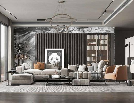 现代, 轻奢, 客厅, 家装