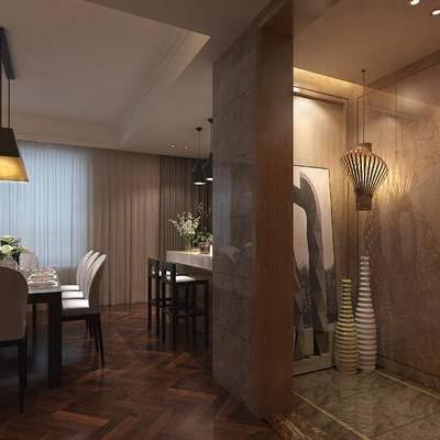 现代, 新中式, 客厅, 餐厅, 厨房, 书房, 沙发组合, 沙发茶几组合, 书桌, 橱柜