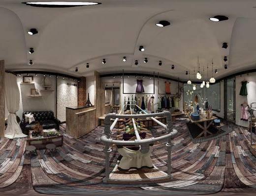 服装店, 工装全景, 衣架, 服饰, 双人沙发, 童装店, 凳子, 摆件, 装饰品, 陈设品, 工业风