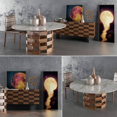 桌椅组合, 餐桌, 餐桌椅, 边柜, 装饰画, 摆件组合, 摆件, 现代