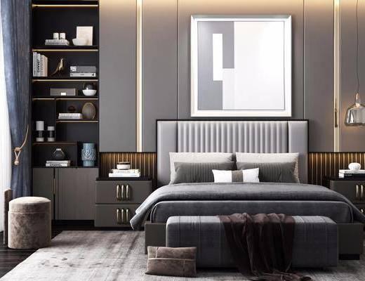 床具组合, 装饰画, 置物柜