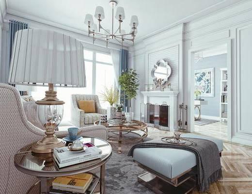简欧, 轻奢, 沙发组合, 地毯