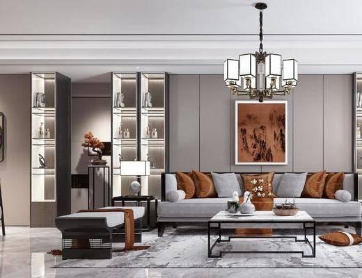 客厅, 餐厅, 沙发组合, 沙发茶几组合, 餐桌椅组合, 摆件组合, 装饰柜组合, 吊灯组合, 新中式