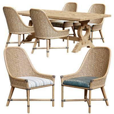 北欧, 藤椅, 藤编餐桌椅