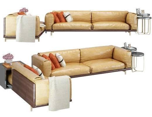 现代, 沙发, 抱枕, 圆几, 摆件