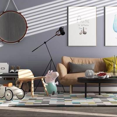 双人沙发, 茶几, 装饰品, 挂画, 摆件, 地毯, 落地灯, 北欧