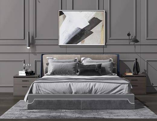 床具组合, 床头柜, 装饰画, 挂画, 掉灯, 壁灯, 摆件, 北欧