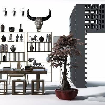 书架, 装饰架, 书桌, 摆件, 绿植, 中式
