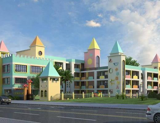 建筑外观, 学校, 门面门头, 现代