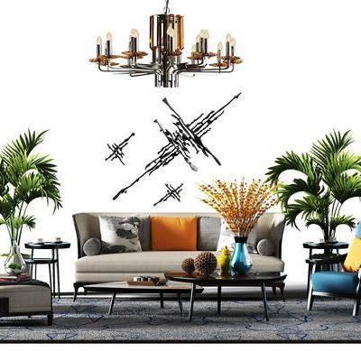 多人沙发, 布艺沙发, 单人沙发, 沙发榻, 摆件, 绿植, 茶几, 现代