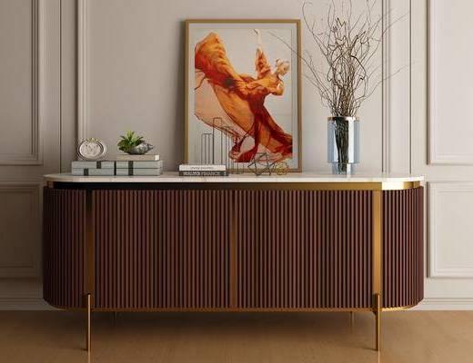 边柜, 柜架组合, 摆件组合, 装饰画, 花瓶
