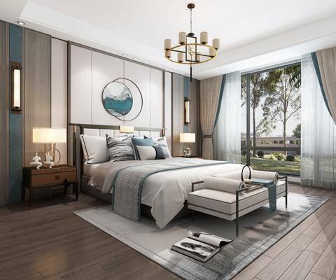 雙人床, 床具組合, 吊燈, 墻飾, 壁燈, 床頭柜