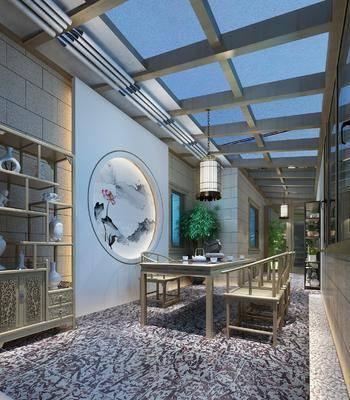 茶室, 餐桌, 餐椅, 单人椅, 吊灯, 装饰架, 装饰柜, 盆栽, 摆件, 装饰品, 陈设品, 新中式