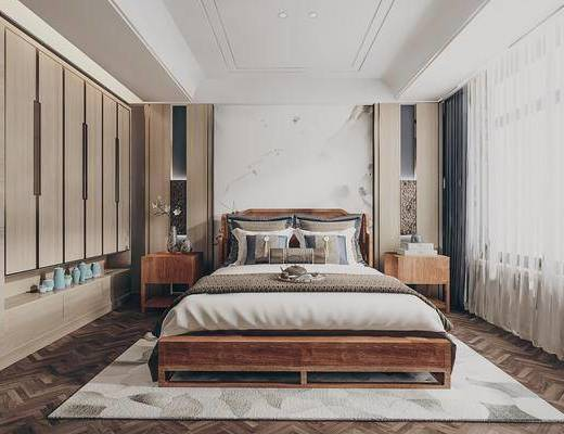 雙人床, 床具組合, 衣柜, 床頭柜