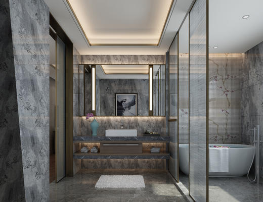 卫生间, 淋浴间, 卫浴, 洗手台, 浴缸