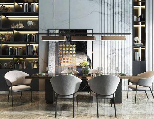餐桌椅组合, 餐具组合, 装饰柜组合, 书柜组合, 摆件组合, 现代